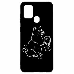 Чохол для Samsung A21s Cat with a glass of wine