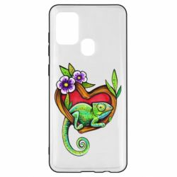 Чохол для Samsung A21s Chameleon on a branch