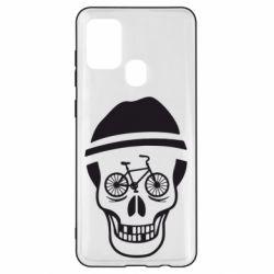 Чохол для Samsung A21s Череп велосипедиста