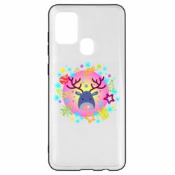 Чехол для Samsung A21s Christmas ball with a deer and decorations
