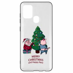 Чохол для Samsung A21s Christmas pigs decorate spruce