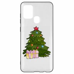 Чехол для Samsung A21s Christmas tree and gifts art