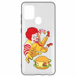 Чехол для Samsung A21s Clown in flight with a burger