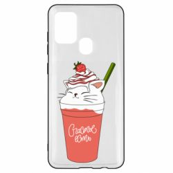 Чехол для Samsung A21s Cocktail cat and strawberry