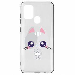 Чохол для Samsung A21s Cute cat with big eyes