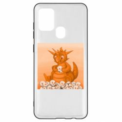 Чохол для Samsung A21s Cute dragon with skulls
