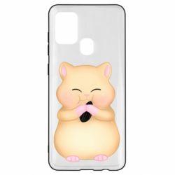 Чохол для Samsung A21s Cute hamster with sunflower seed