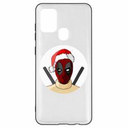 Чехол для Samsung A21s Deadpool in New Year's hat