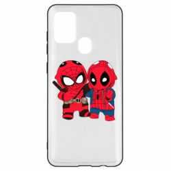 Чехол для Samsung A21s Дэдпул и Человек паук