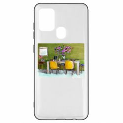 Чохол для Samsung A21s Dining table with flowers