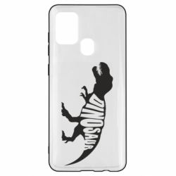 Чехол для Samsung A21s Dinosaur text
