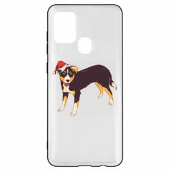 Чехол для Samsung A21s Dog in christmas hat