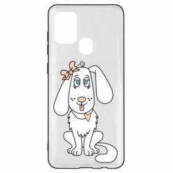 Чехол для Samsung A21s Dog with a bow