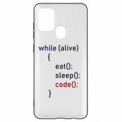Чохол для Samsung A21s Eat, Sleep, Code