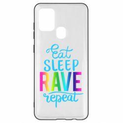 Чохол для Samsung A21s Eat, sleep, RAVE, repeat