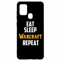 Чехол для Samsung A21s Eat sleep Warcraft repeat
