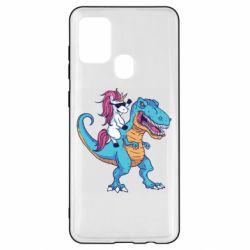 Чохол для Samsung A21s Єдиноріг і динозавр