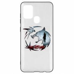 Чехол для Samsung A21s Emblem wolf and text The Witcher