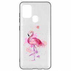 Чехол для Samsung A21s Flamingo pink and spray