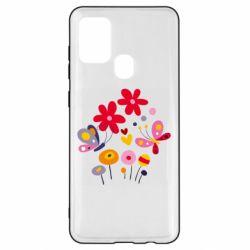 Чехол для Samsung A21s Flowers and Butterflies