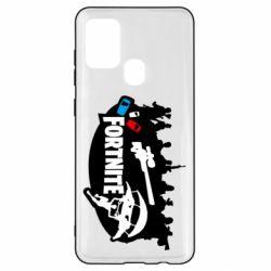 Чехол для Samsung A21s Fortnite logo and heroes