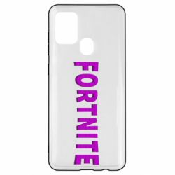 Чехол для Samsung A21s Fortnite purple logo text
