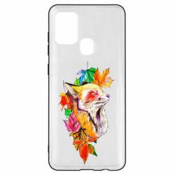 Чехол для Samsung A21s Fox in autumn leaves