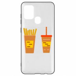 Чехол для Samsung A21s French fries and cocktail flat vector