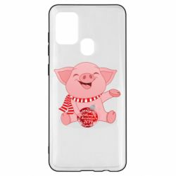 Чохол для Samsung A21s Funny pig with a Christmas toy