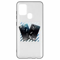 Чехол для Samsung A21s Gambling Cards The Witcher and Cyrilla