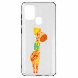 Чехол для Samsung A21s Giraffe in a scarf