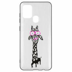 Чохол для Samsung A21s Giraffe in pink glasses