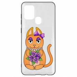 Чехол для Samsung A21s Girl cat with flowers