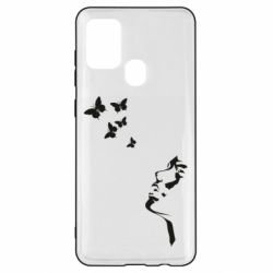 Чехол для Samsung A21s Girl face and butterfly