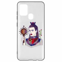 Чехол для Samsung A21s Girl with a crown and a flower on a beard