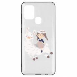Чохол для Samsung A21s Girl with a lama