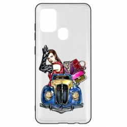 Чехол для Samsung A21s Girl with a retro car