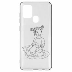 Чехол для Samsung A21s Girl with a toy bunny