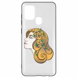 Чехол для Samsung A21s Girl with flowers in her hair art