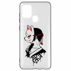 Чехол для Samsung A21s Girl with kitsune mask