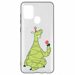 Чехол для Samsung A21s Green llama with a garland