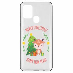 Чехол для Samsung A21s Happy new year and deer