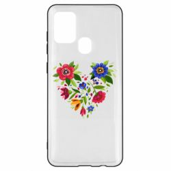 Чехол для Samsung A21s Heart made of flowers vector