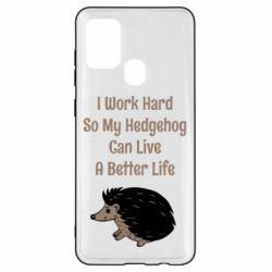 Чехол для Samsung A21s Hedgehog with text