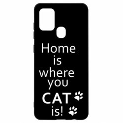 Чехол для Samsung A21s Home is where your Cat is!