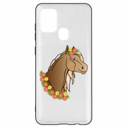 Чехол для Samsung A21s Horse and flowers art
