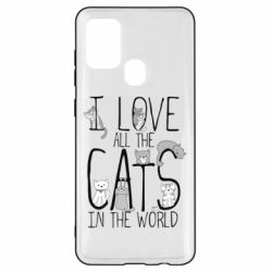 Чехол для Samsung A21s I Love all the cats in the world
