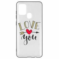 Чохол для Samsung A21s I love you and heart