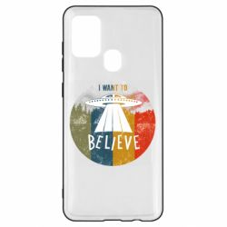 Чехол для Samsung A21s I want to believe text