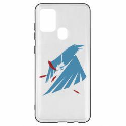Чехол для Samsung A21s Infamous: Second Son - Karmic titles two blue